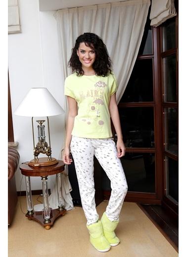Zuzu Penye Kadın Kısa Kollu Alt Uzun Pijama Takımı-Hays